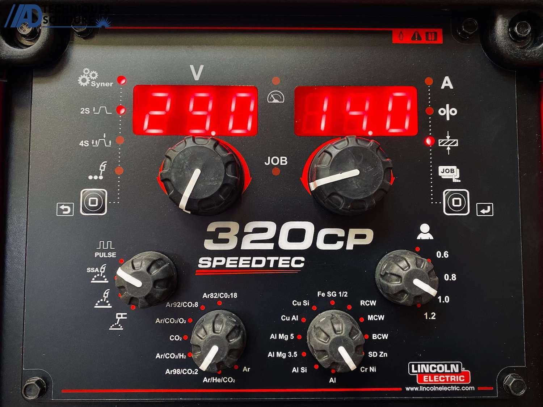 Panneau de commande poste à souder MIG-MAG SPEEDTEC 320CP Multi-procédés, pulsé, synergique Lincoln Electric triphasé